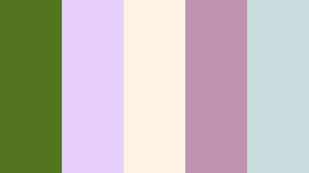 Palm Tree Green, Lilac, Linen, Pastel Violet, Morning Blue -