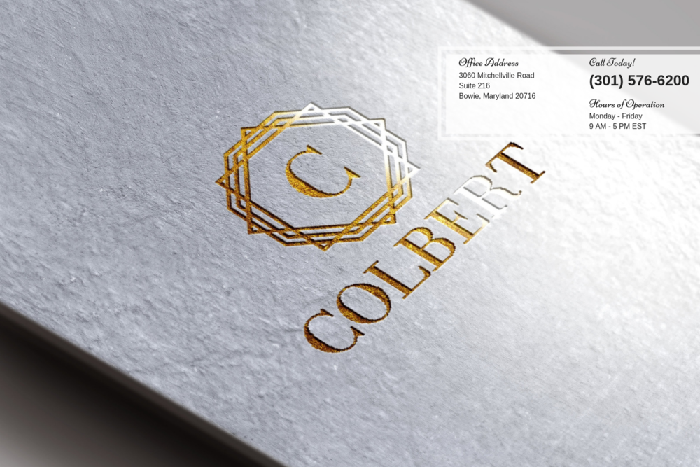 Colbert Law Center - Bowie Maryland - Gold Embossed Business Card Homepage Graphic.png