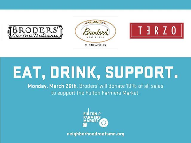 Come eat with us on Monday, March 26! We'll be donating 10% of our sales to our neighborhood friends at Fulton Farmers Market, and we'd love it if you helped us support them. ❤️🍕🍝