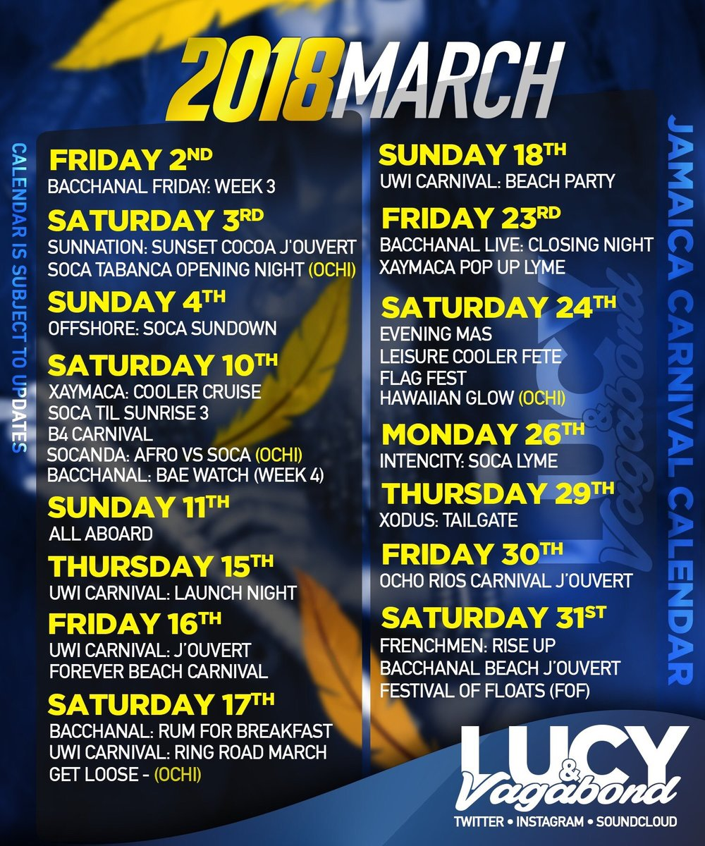 Official JA Carnival Lucy & Vagabond March Calendar