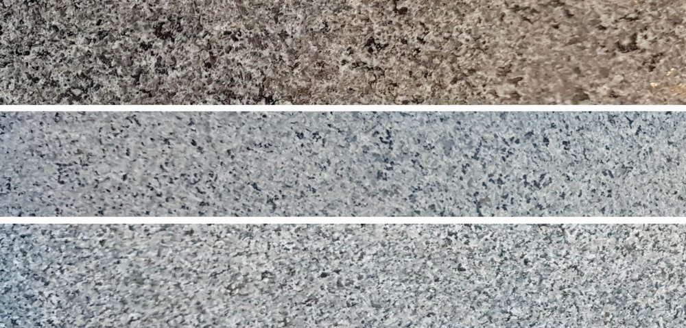 G654 Mørk Grå granitt med polert, slipt og flammet overflate