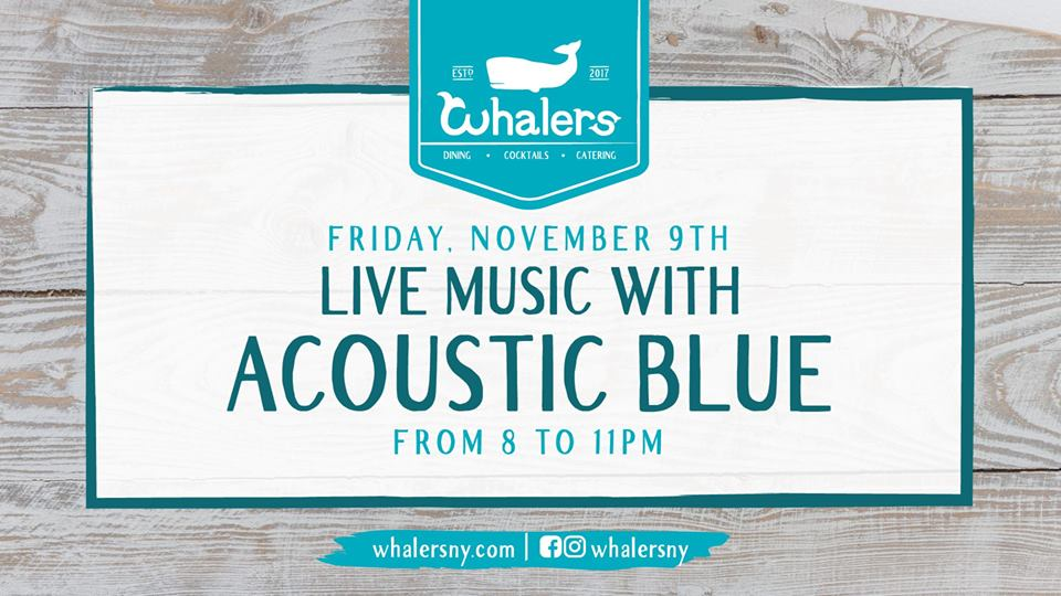 Kick back and relax with some sweet tunes from Acoustic Blue right here at Whalers! Music starts at 8pm.