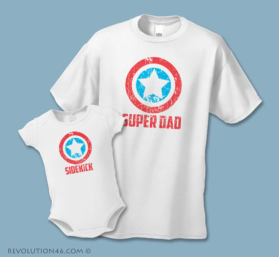 Super Dad Shirt + Sidekick Baby Shirt