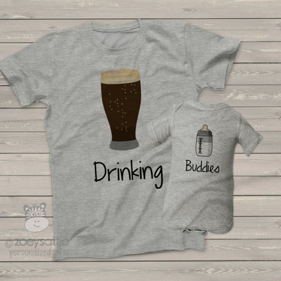 Dad and Baby Drinking Buddies Shirts