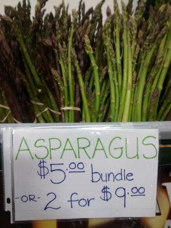 Fresh asparagus grown by Meadows Family Farm and sold at the Greensboro Farmers Curb Market.  A great source of the antioxidant glutathione.