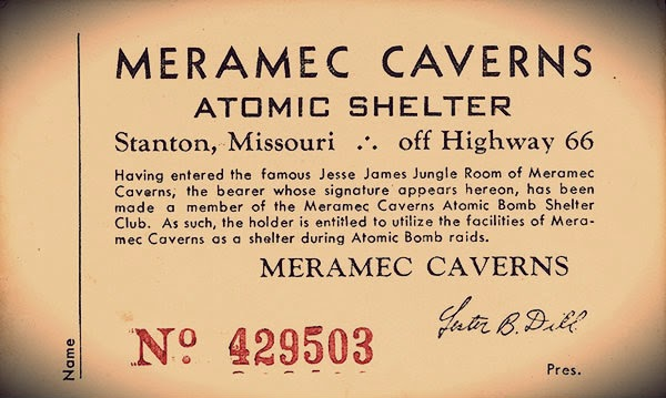 One of the famous bomb shelter tickets issued by the cave