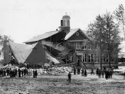 The ruins of the Bath Consolidated School after the explosion. This horrific event is the worst school massacre in American history.