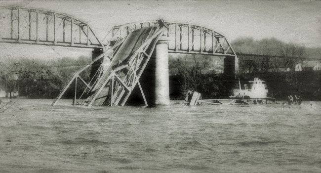 The Silver Bridge, which collapsed in 1967.