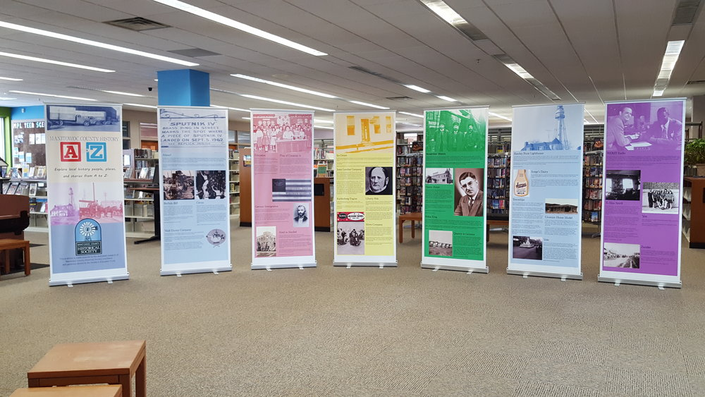 Manitowoc County A to Z exhibit at the Manitowoc Public Library in June, 2018