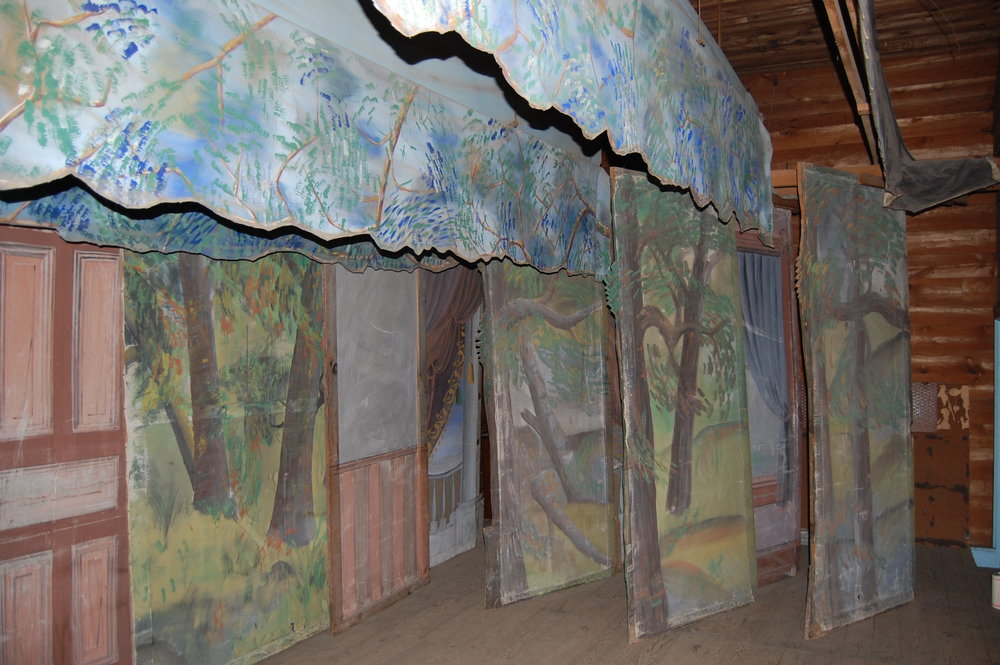 The puppet theater and stage with 1890s hand-painted backdrops