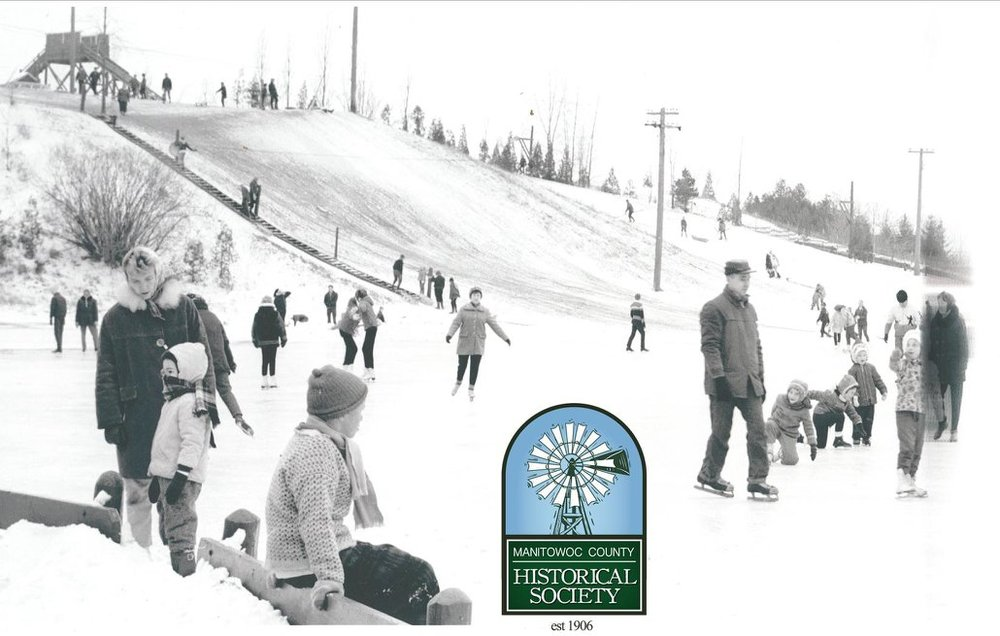 Image from the MCHS Daryl Cornick collection, taken in 1966 of the toboggan slide and ice skating rink at Silver Creek Park in Manitowoc.