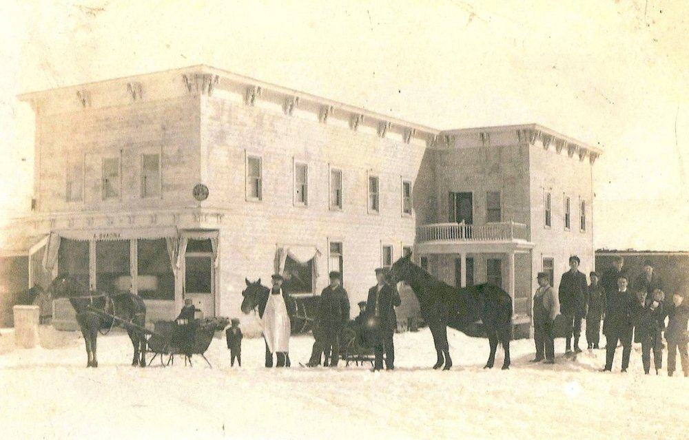 2011.37.5: A. Svacina Hotel and Saloon, Grimms. Photo taken around 1910 after the construction of the new saloon.
