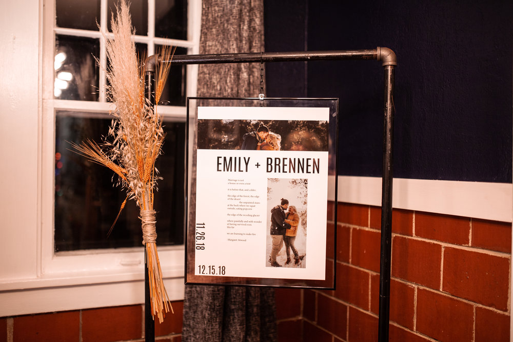 Emily + Brennen - December 2018 — My own wedding! I had an outdoor mountain wedding in Colorado followed by a reception back in Illinois. I designed the invitations, welcome sign, seating chart, table numbers, and small tabletop sings, all in the modern, industrial, midwest style that I love.
