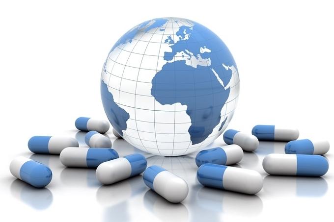 Globe and pharmaceuticals photo illustration