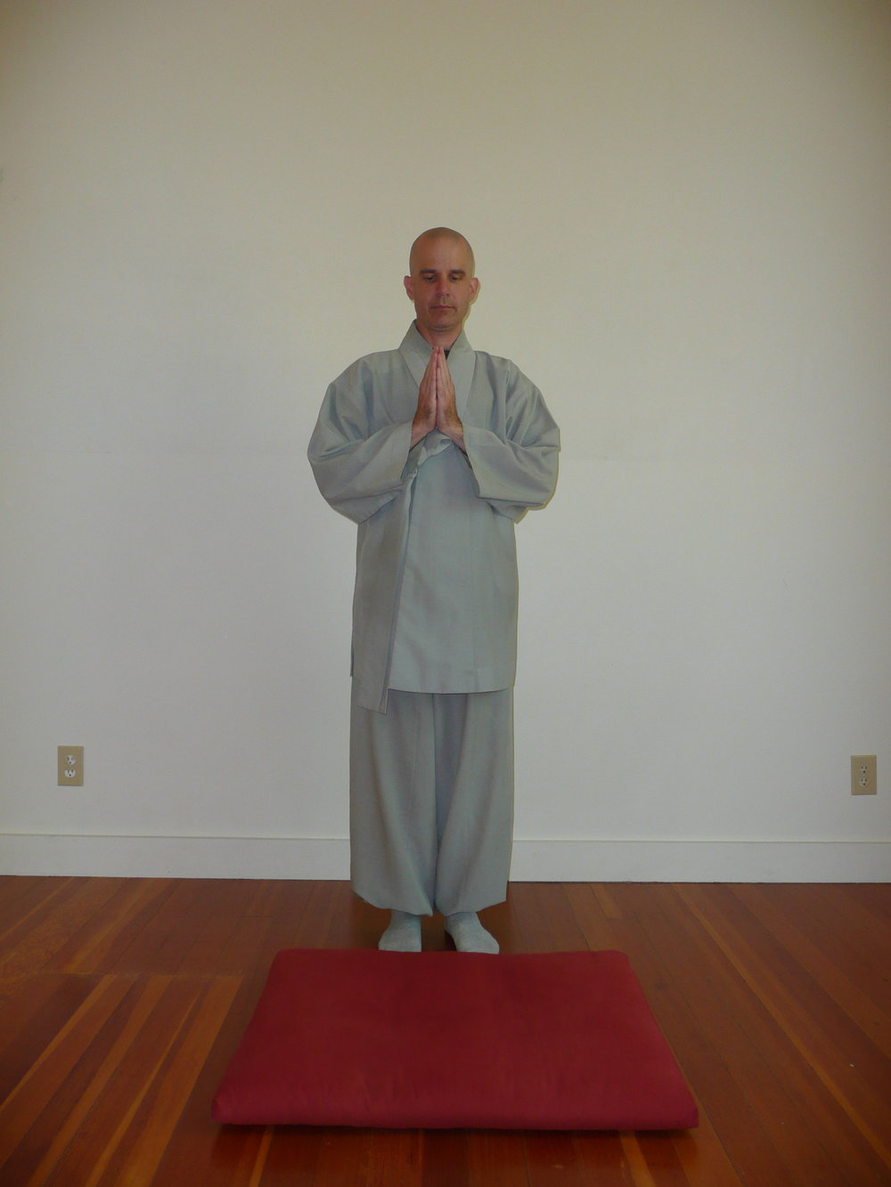 1. Start in a standing position with the feet together, and the hands in hapchang. -