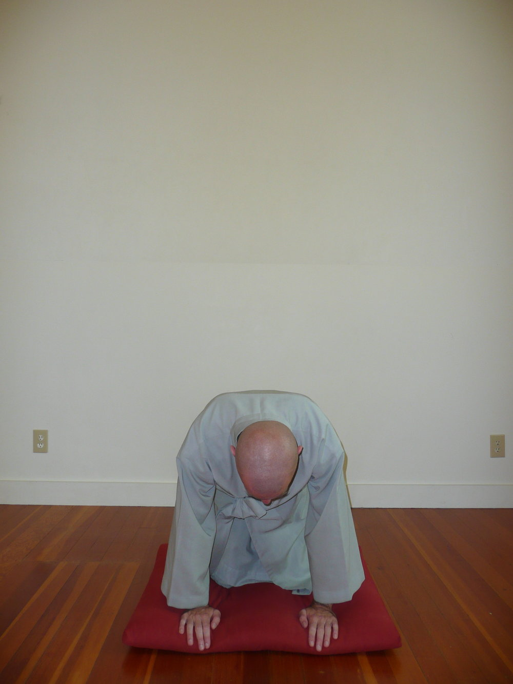 3. Drop forward to all fours so that the right hand is in front of the right knee and same for left. -