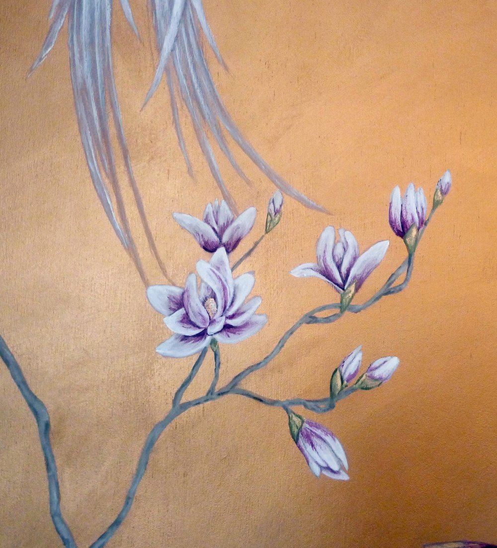 Magnolia chinoiserie wall mural, detail