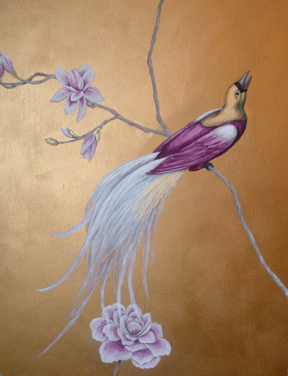 Magnolia chinoiserie wall mural, bird detail