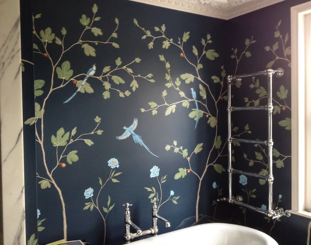 fig and jay bathroom mural, frederick Wimsett bespoke wall art