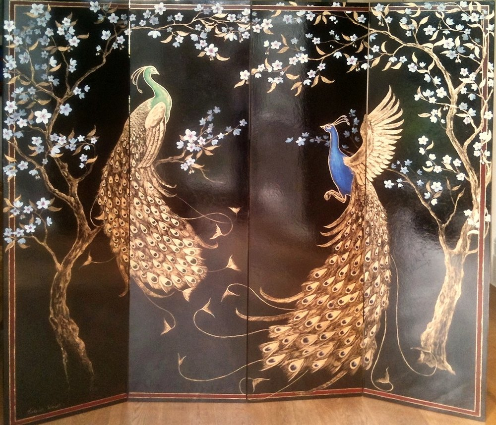 Frederick Wimsett - Murals - screens - handpainted -Peacock Screen Front .jpg