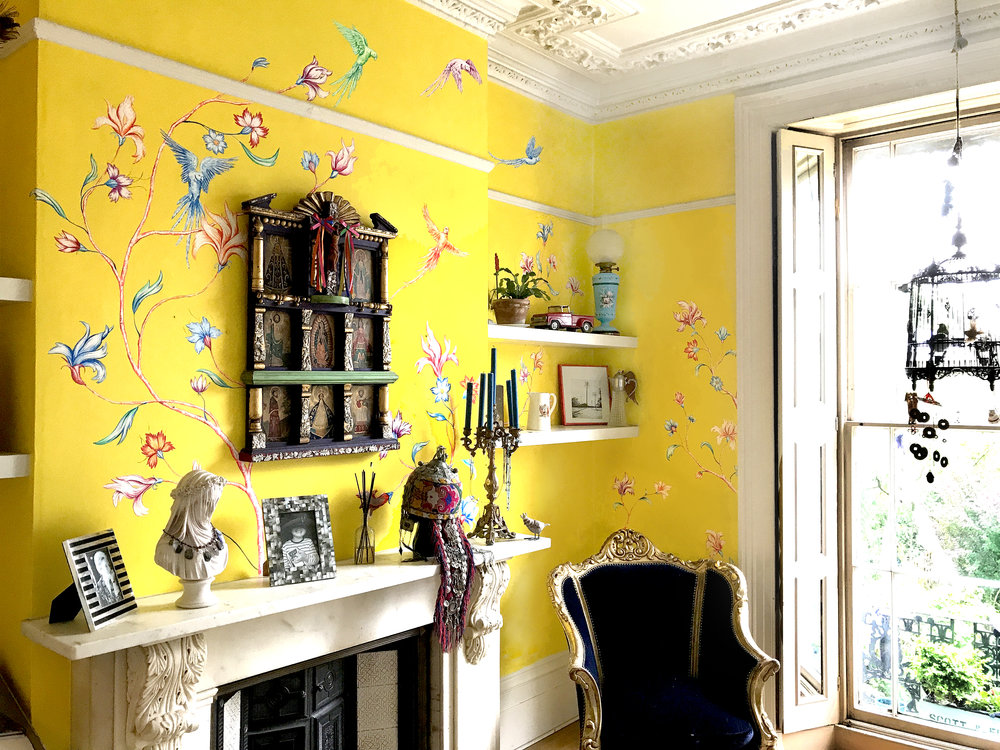 Frederick Wimsett - murals and artistic design  WALLS MUMBAI YELLOW CHINOISERIE 3.JPG