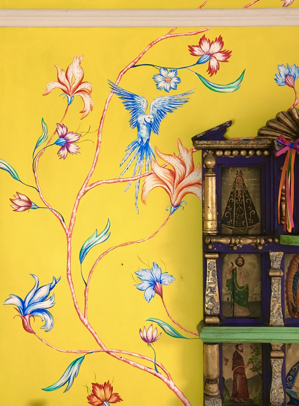 Frederick Wimsett - murals and artistic design  WALLS MUMBAI YELLOW CHINOISERIE DETAIL 1.jpg