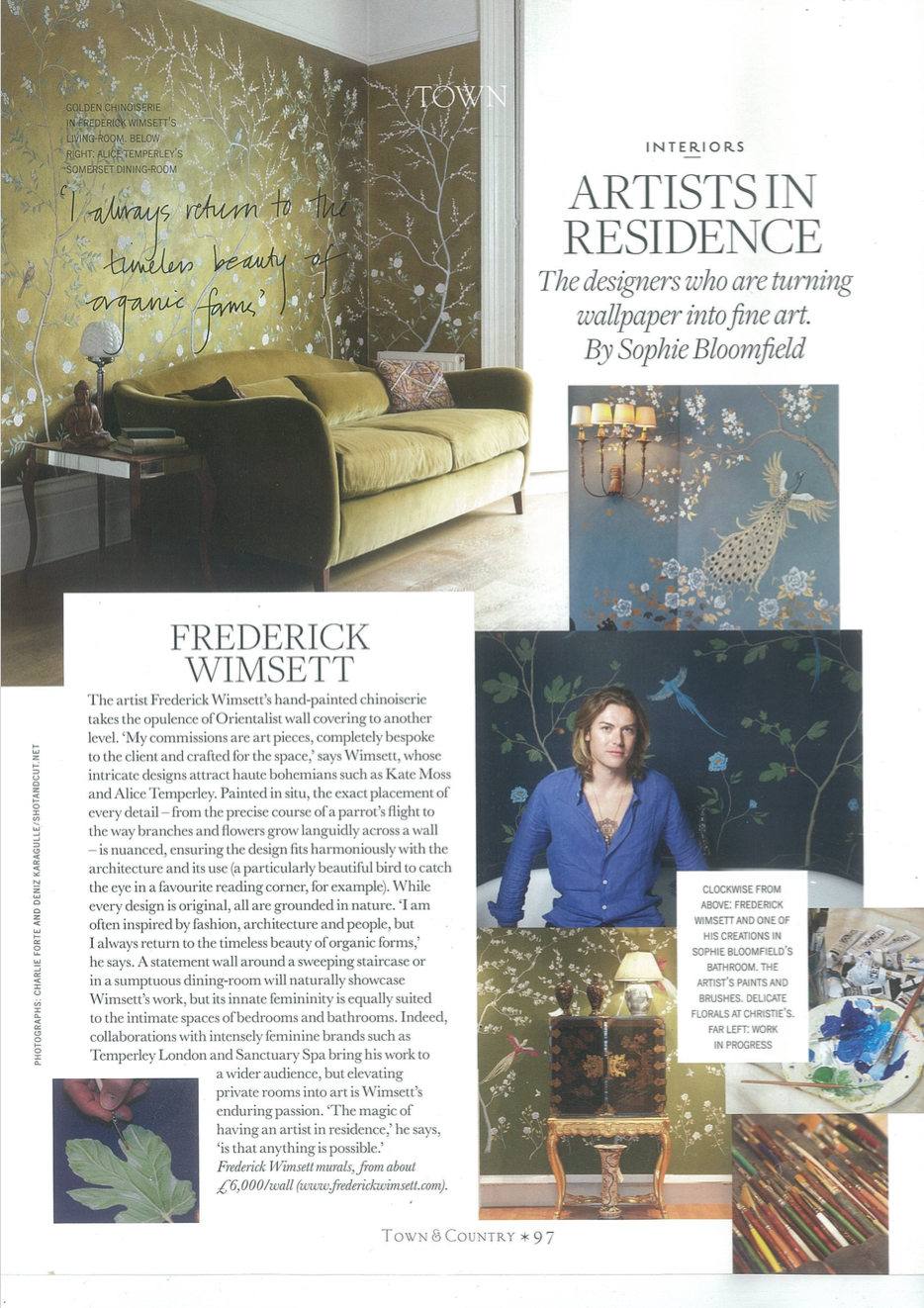 frederick wimsett - press - town and country - interiors special p1- murals and artistic design