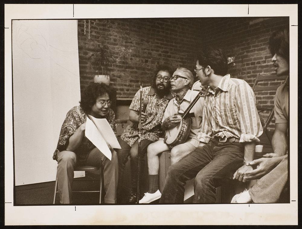 from L-R: George Leong, Al Robles, Freddie De Los Reyes, Doug Yamamoto, Lou Syquia
