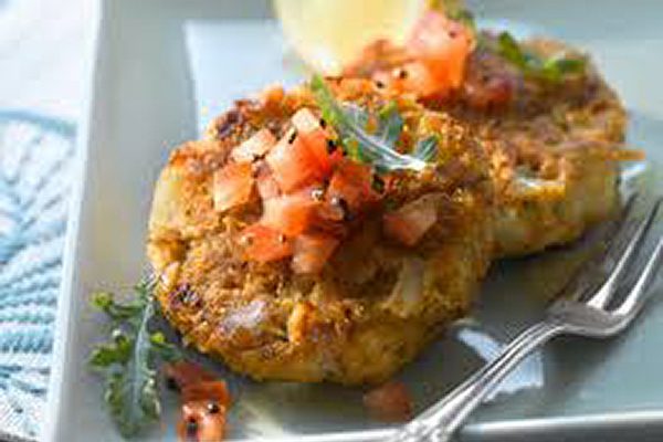 CRAB CAKES Made with fresh real crab. Each cake is handmade using the freshest ingredients with the perfect blend of seasonings.