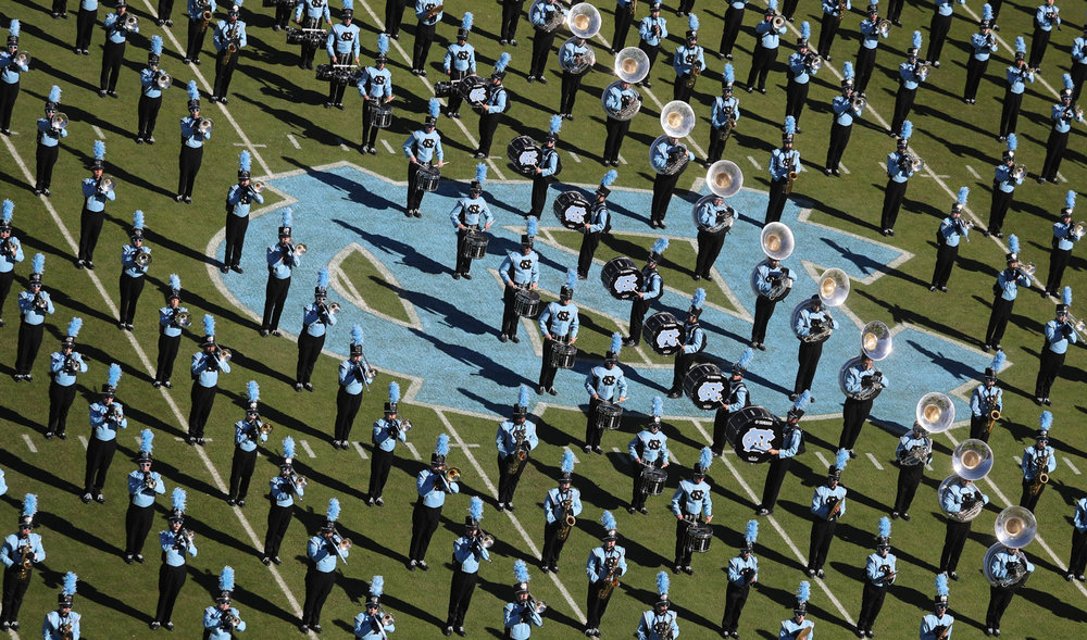 The University of North Carolina Tar Heels marching band perform before a game against the Georgia Tech Yellow Jackets at Kenan Stadium in Chapel Hill, NC on Saturday, Nov. 5, 2016.