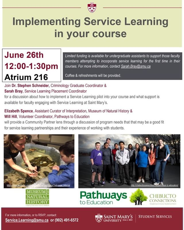 June 26 at noon in Atrium 216, discuss how to implement a service learning pilot into your course, and learn about supports available for faculty engaging with service learning at @smuhalifax  #servicelearning #cdnpse #highered #smuhalifax