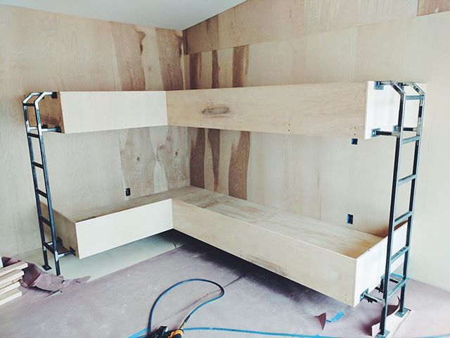 I call top bunk! 😉 Hand crafting these built in bunk beds has been a blast!