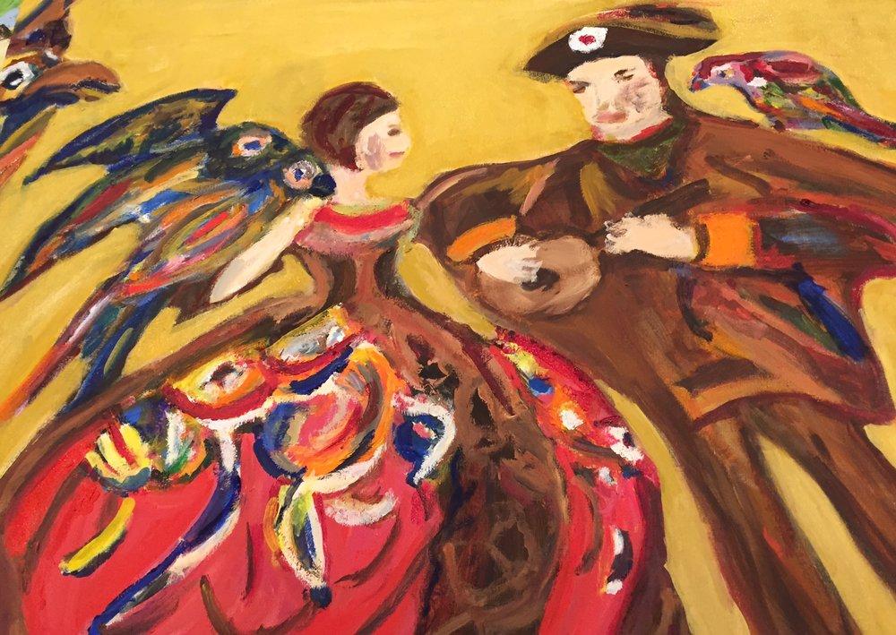 Dancers with Parrots