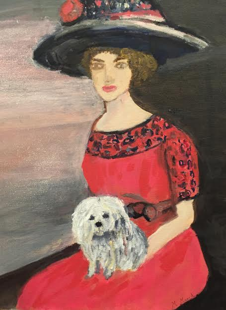 Woman in Hat with Dog