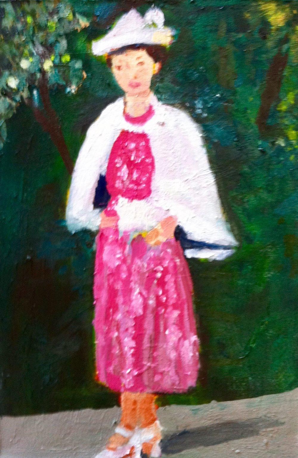 Rose in Rose Colored Dress