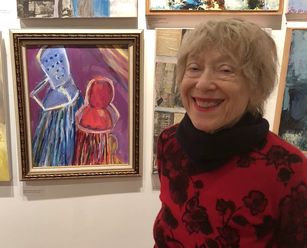 Marjorie in front of one of her paintings at Byrdcliffe Salon Show 2018.jpg
