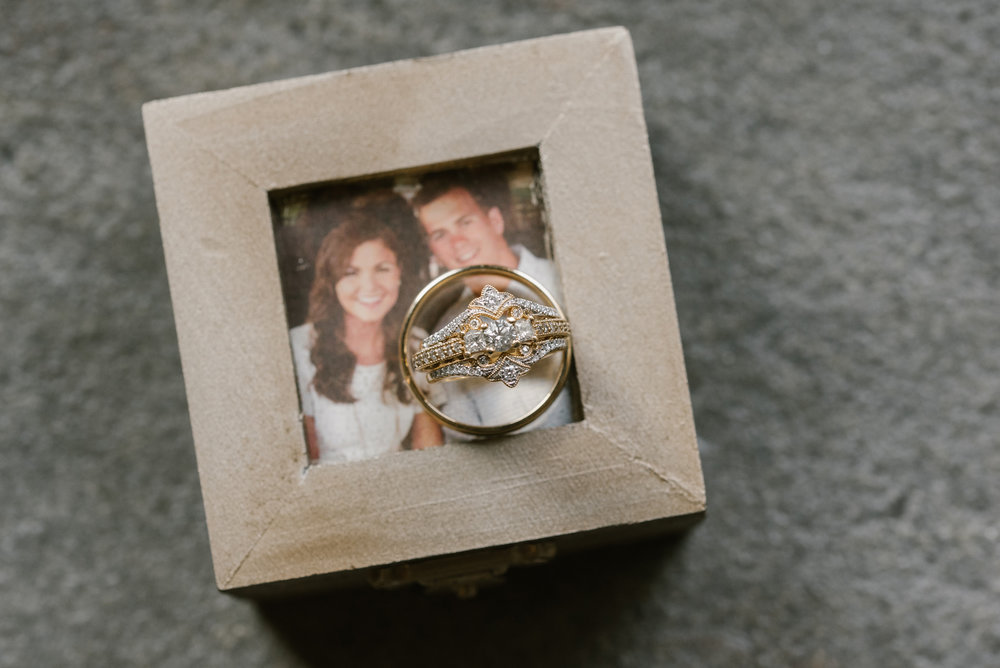 Bride and Groom's rings on ring box with picture