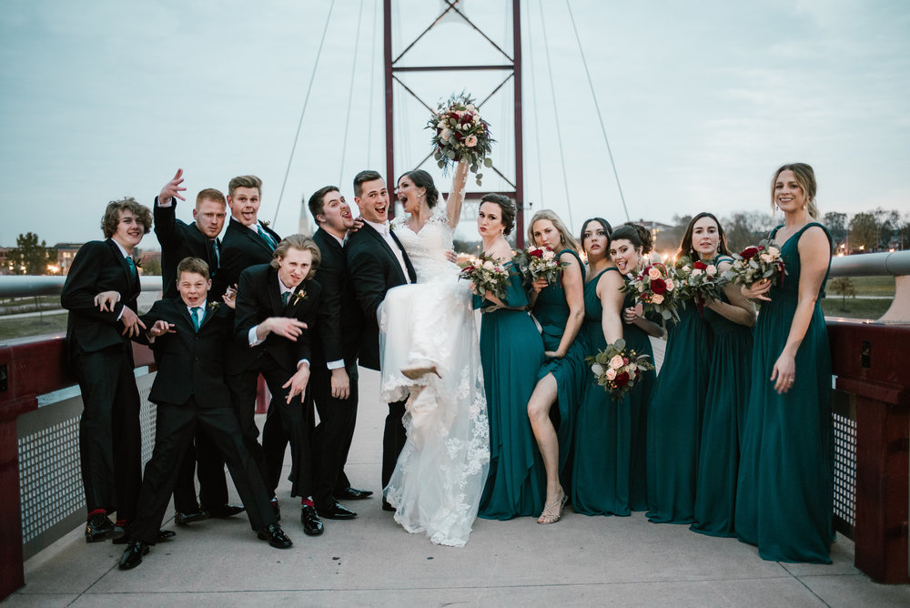 fun bridal party at mishawaka river walk