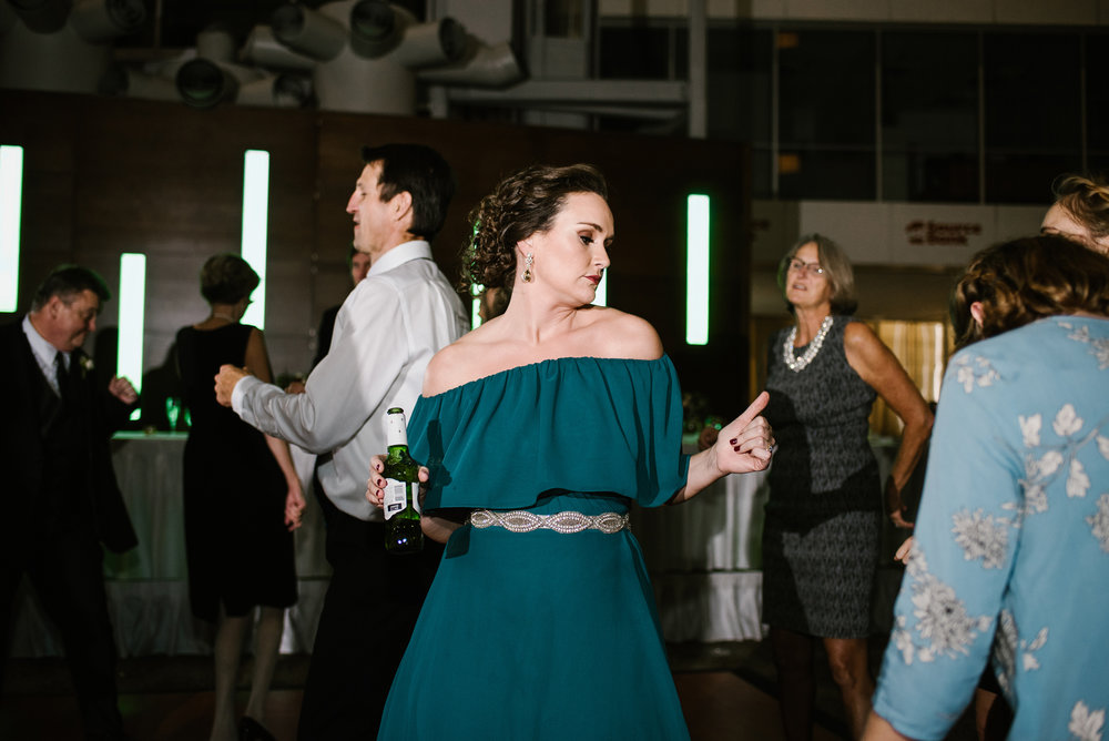 bridesmaid dancing at Doubletree in South Bend