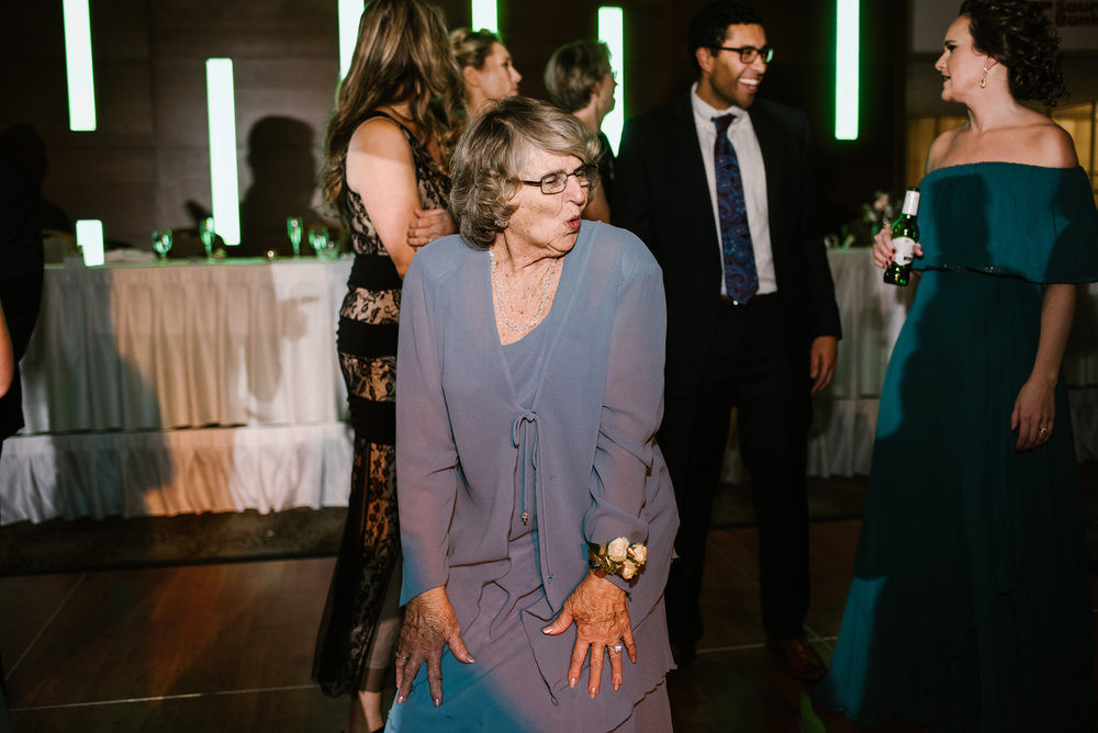 grandma on dance floor dancing at wedding reception