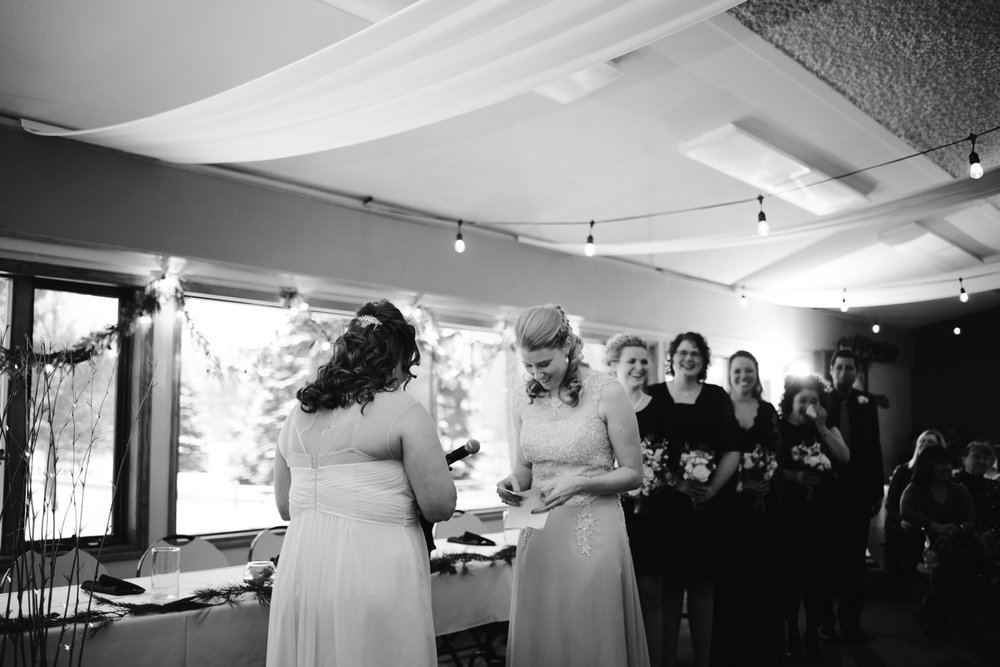 brides laughing during LGBT Wedding Ceremony