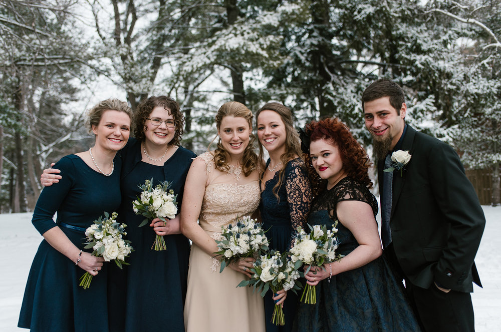 Winter wedding party photos