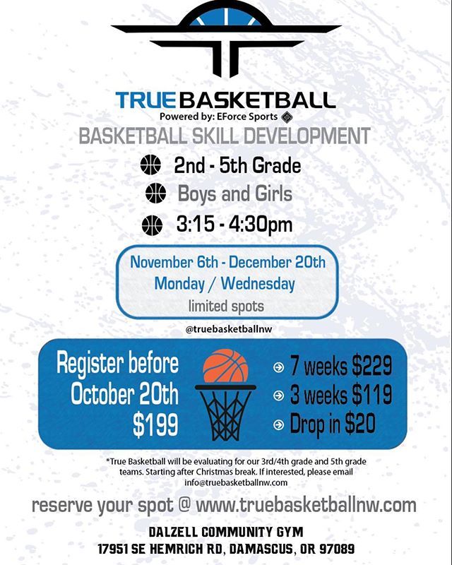 Basketball Skill Development camp! Starting in November for 2nd - 5th graders! Limited spots.