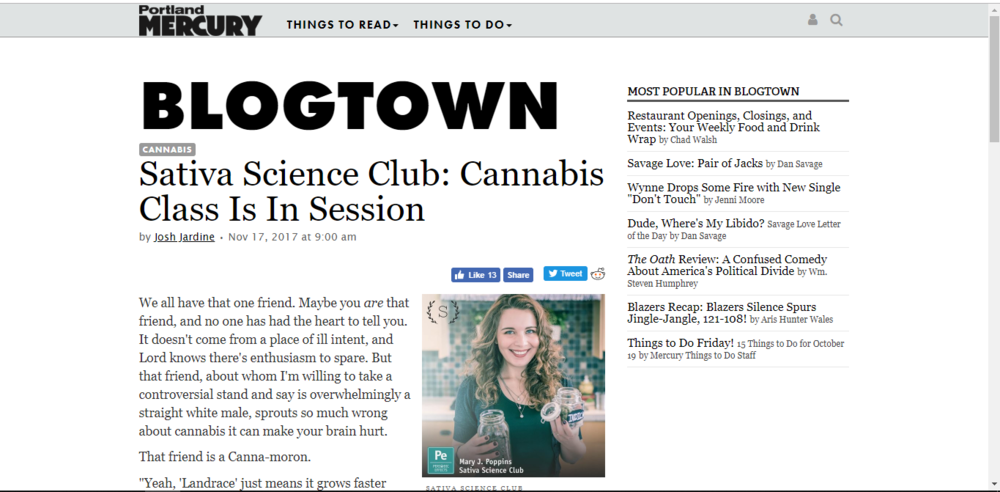 Sativa Science Club: Cannabis Class Is In Session~ Portland Mercury