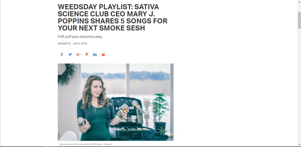 WEEDSDAY PLAYLIST: SATIVA SCIENCE CLUB CEO MARY J. POPPINS SHARES 5 SONGS FOR YOUR NEXT SMOKE SESH~ Magnetic Magazine