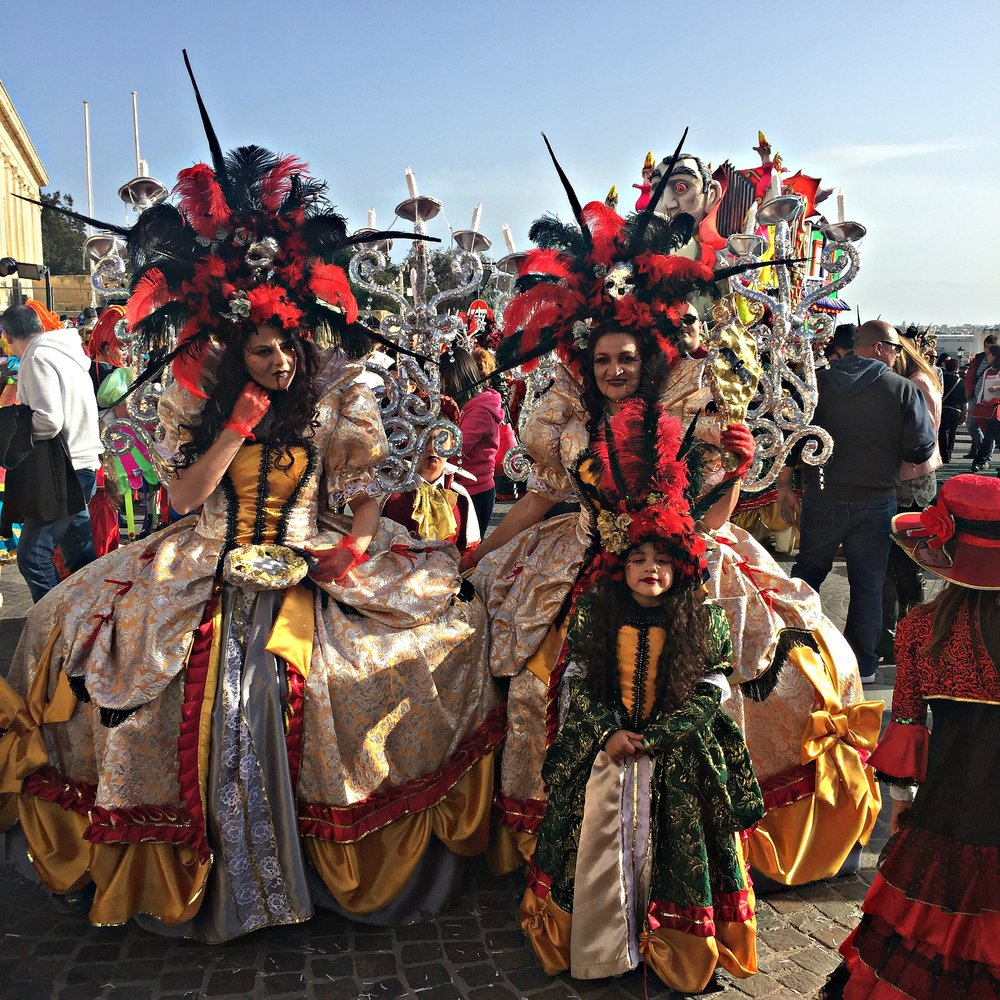 Malta Carnival Valletta People in Costumes