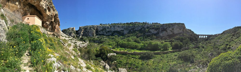 Panorama view of Valley of Honey in Malta