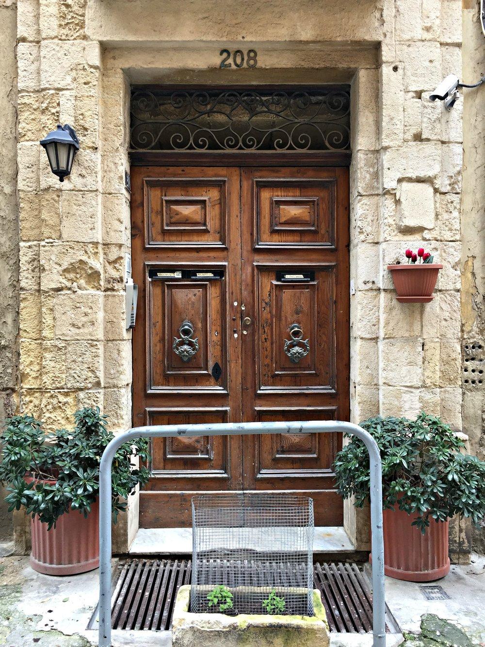 Malta Valletta Brown Door with Door Knobs