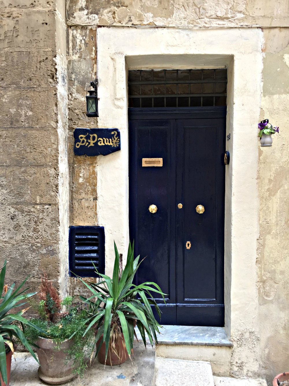 Valletta Malta Blue Door Golden Door Knobs
