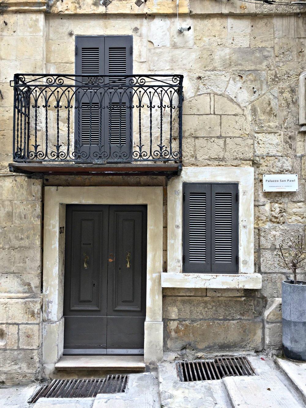 Malta Valletta Grey Door Window Balcony